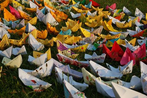9. How to make a paper boat sculpture: close up of Paper Boats | by threeharbours
