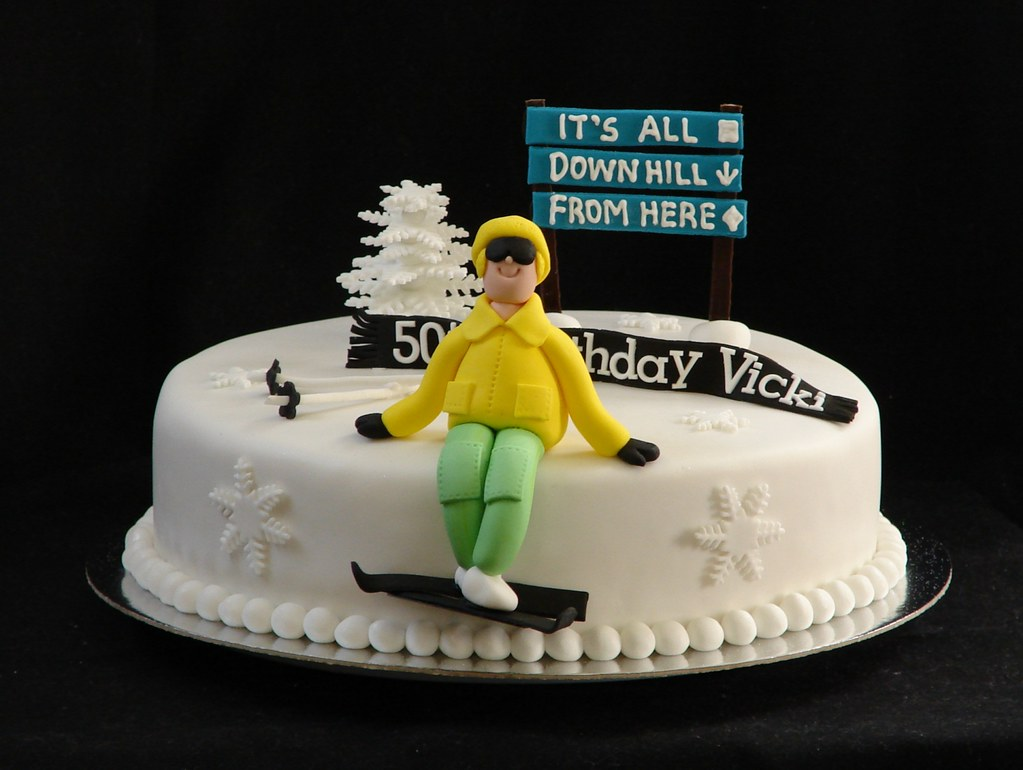 Ski Cake This is a ginger cake for a 50th birthday Vicki Flickr