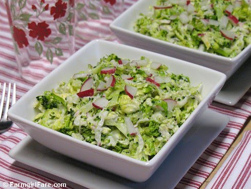 Napa Cabbage Broccoli Slaw with Brussels Sprouts, Radishes, and Creamy Dijon Dressing | by Farmgirl Susan