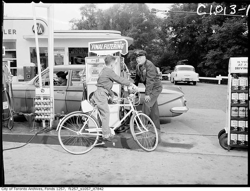 Peterson Productions filming advertisement for BA Oil at gas station | by Toronto History