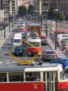 Busy city- Three Prague Trams | by gelle.dk