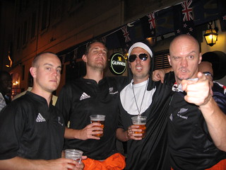 Cam, Russ, The Giant Nun and Hubbers, All Black fans in Marseilles | by Hubbers