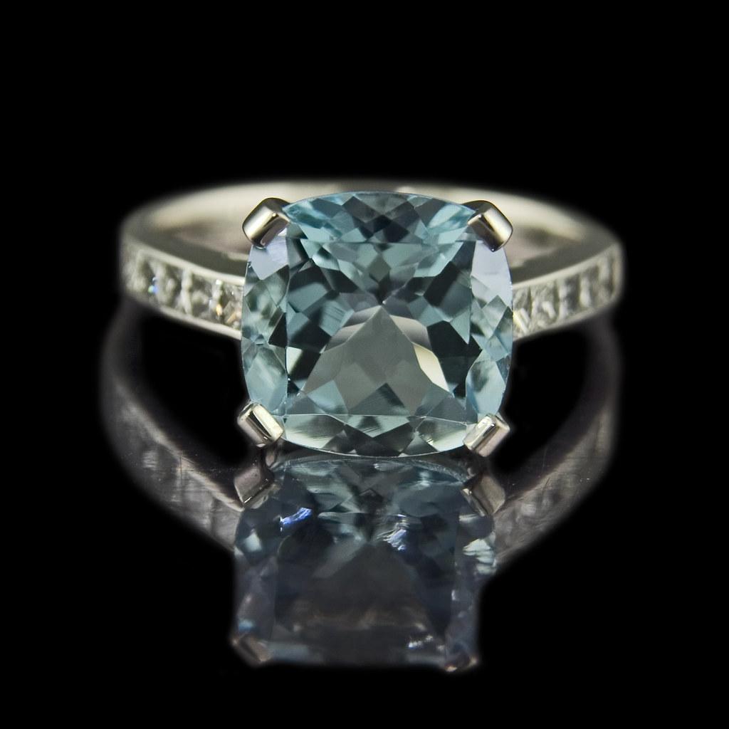 Deep Water Cushion Cut Aquamarine Engagement Ring Flickr