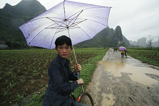 Student riding to school on rainy day. China | by World Bank Photo Collection