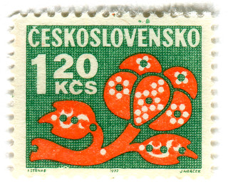 Czechoslovakia postage stamp: orange flower on green | by karen horton