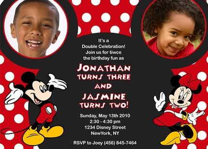 Mickey Minnie Mouse Ear Disney Custom Birthday Invitation – Minnie and Mickey Birthday Invitations