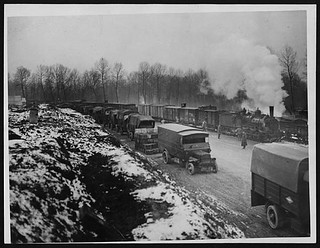 Supply train steaming into a railhead | by National Library of Scotland