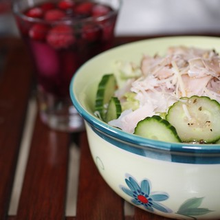 chef's salad with mixed berry sparkling water | by Madison Bistro
