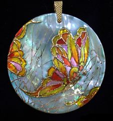 Art jewelry-hand painted pendant and brooch mother of pearl butterfly | by Jewelry by Evelina