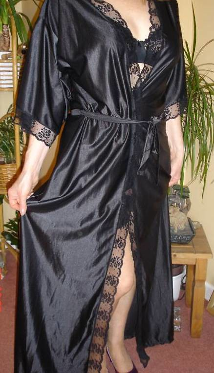 Modeling one of my Black satin olga Dressing gown/Robe | Flickr