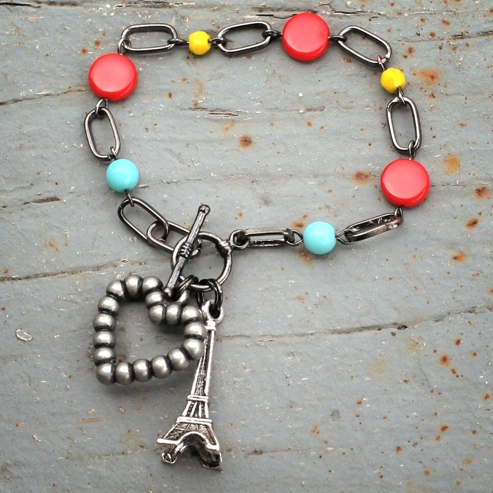 Je T'aime Paris Eiffel Tower Charm Bracelet  By Gwen