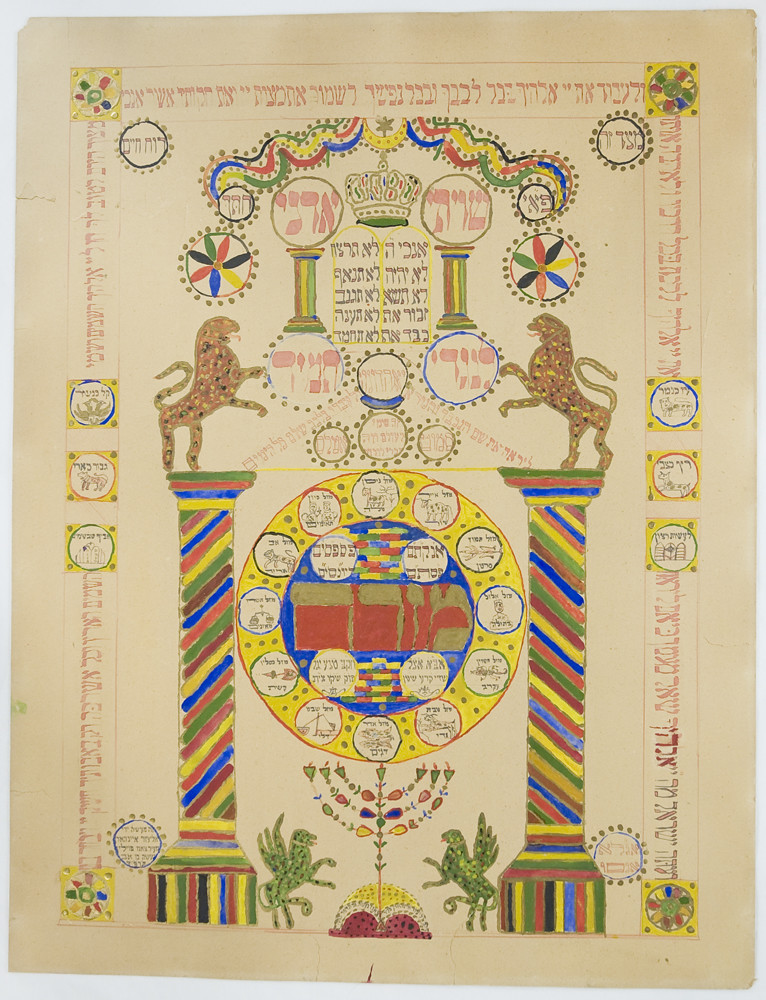 Manuscript [78.4.33]: Mizrach inscribed with biblical, rabbinic, and amuletic texts, illustrated with astrological signs (Nowy Sa̜cz, Poland, 1924)