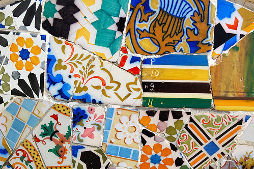 Mosaic Work Called Trencadis by Gaudi at Park Guell, Barcelona | by Carlos Lorenzo