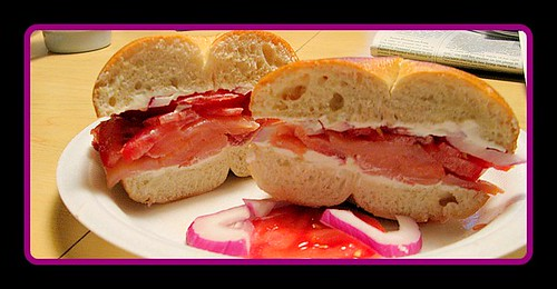 Breakfast of Champions: bagel, lox, red onion, tomato, cream cheese | by The Gifted Photographer