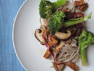 Asian Broccoli with Shiitake Mushrooms on Soba Noodles with Ginger Sauce | by veganbackpacker