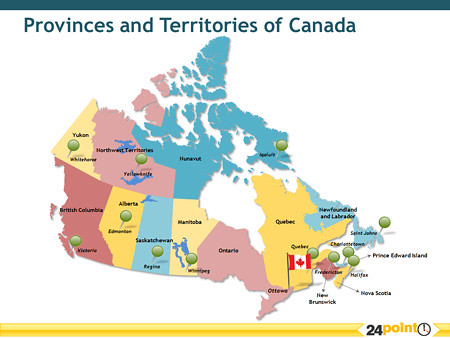 a map of canada with the provinces and territories of canada by 24point0