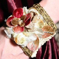 The Courtesan's Afternoon Tea Wrist Cuff with Gold Lace and Flowers | by louiseblack