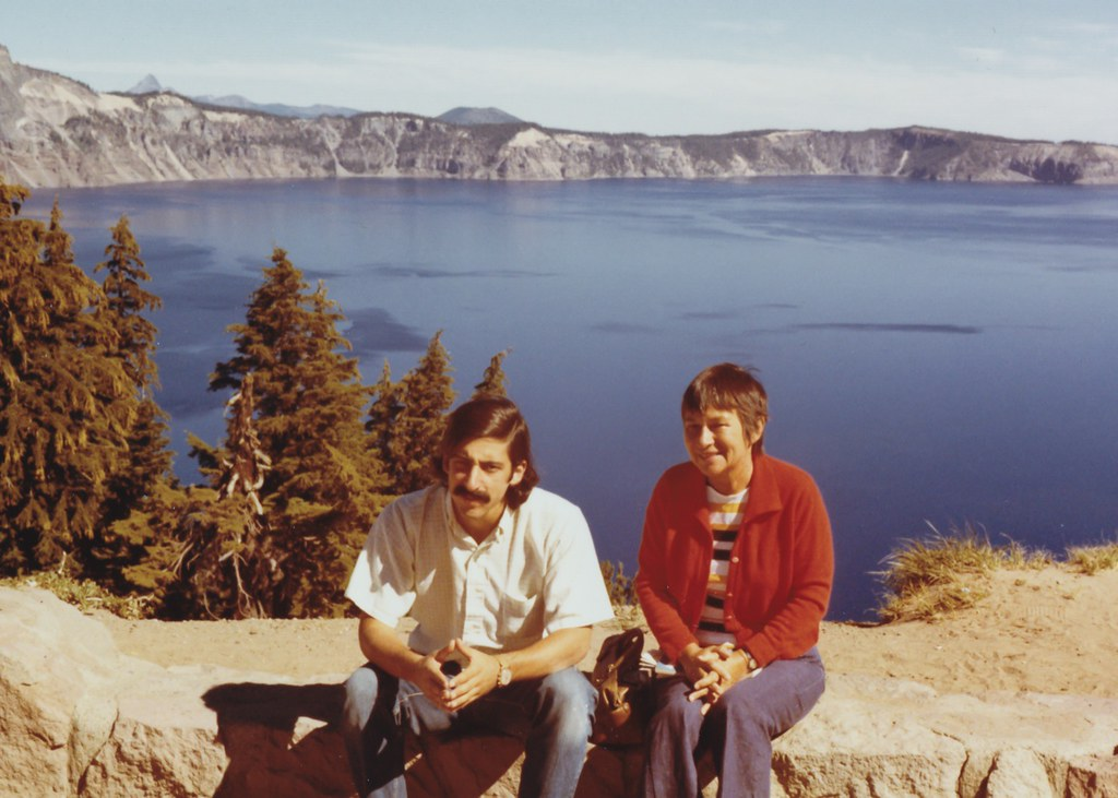 My mother and me at Crater Lake, Oregon in 1972