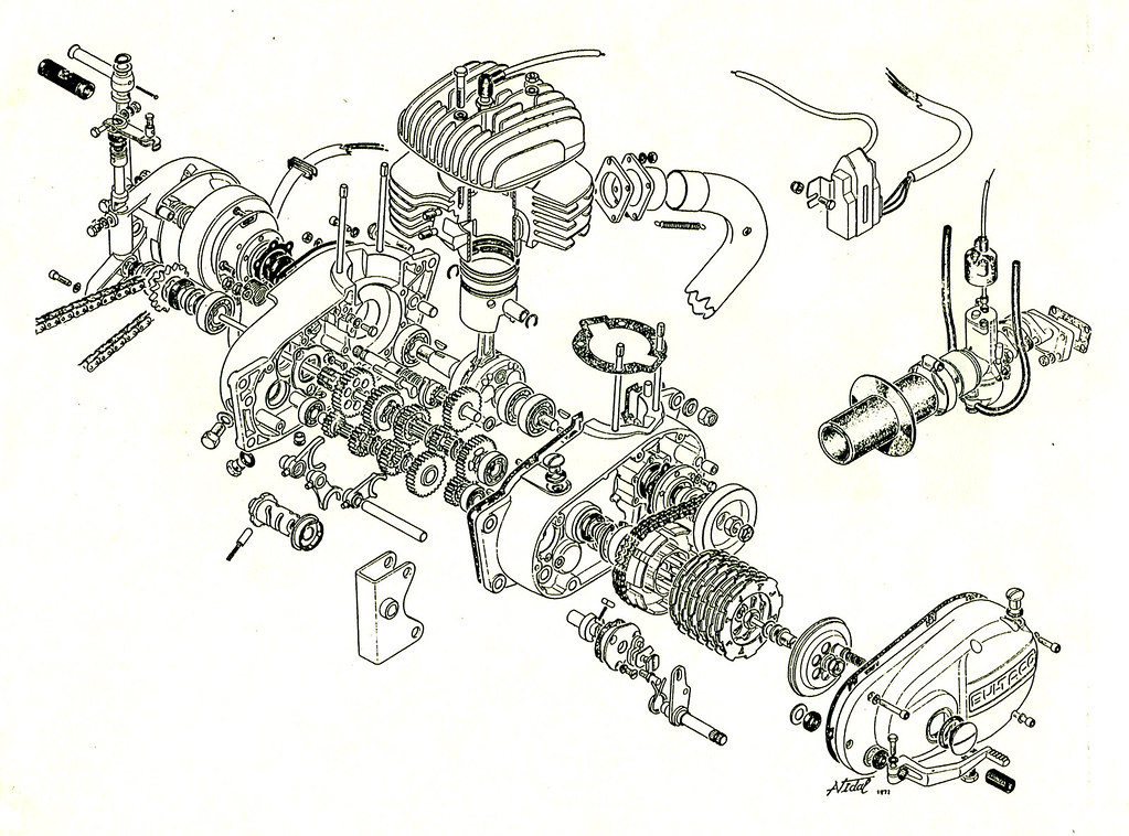 Bultaco engine exploded view | Bultaco engine exploded view … | Flickr