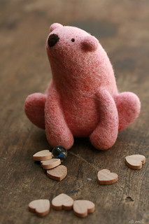 pink needle felted polar bear | by ola smith