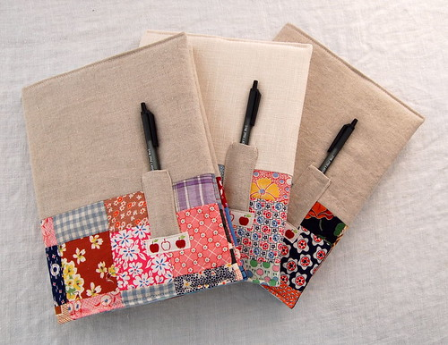 vintage patchwork + linen notebooks | by JenniferCasa