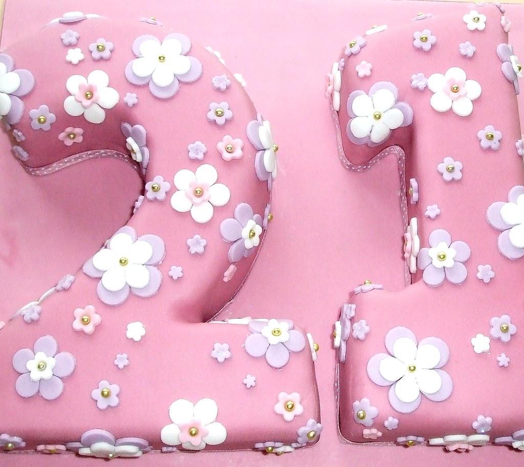 21st Birthday Cake Pink Number 21 Sponge Cake Decorated Flickr
