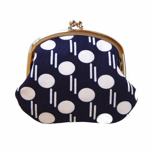 Coin purse with polka dots on navy | by Jennifer Ladd handmade