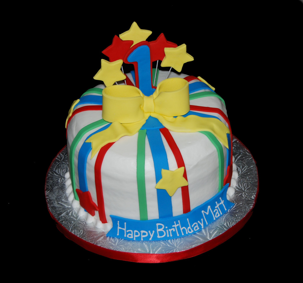 1st Birthday Red Blue Yellow And Green Birthday Cake Flickr