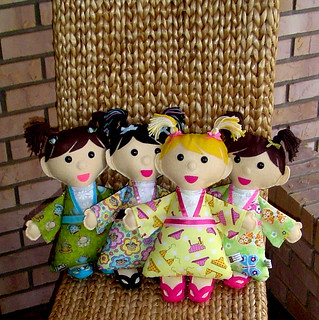 Kimono Kids dolls made from felt and fabric | by Hope's art