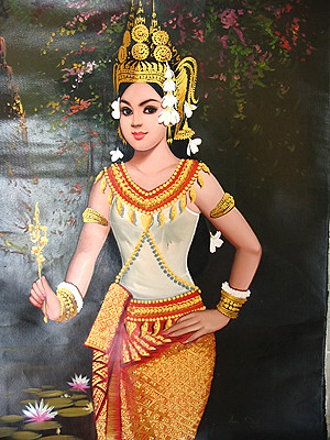 a painting of an Apsara at Cambodia / Cambodge   From ...