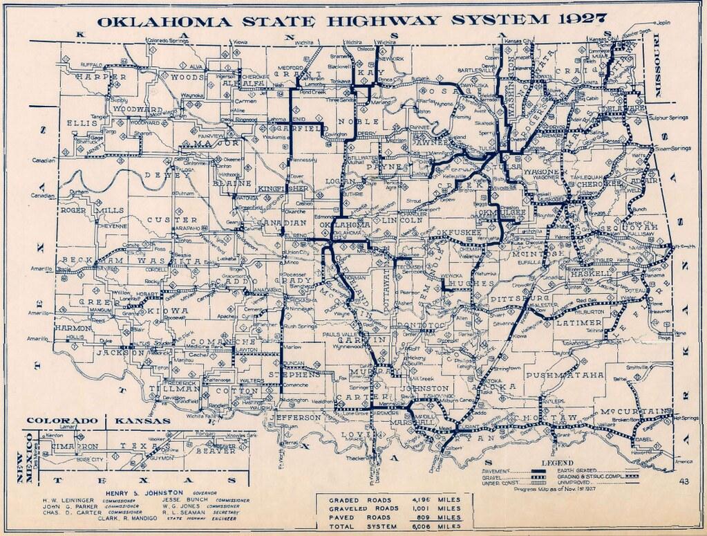 Oklahoma Highway Map 1927 1927 Oklahoma Highway Map wwwok Flickr