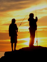 Fishing at Sunset - Pacific Ocean , California | by moonjazz