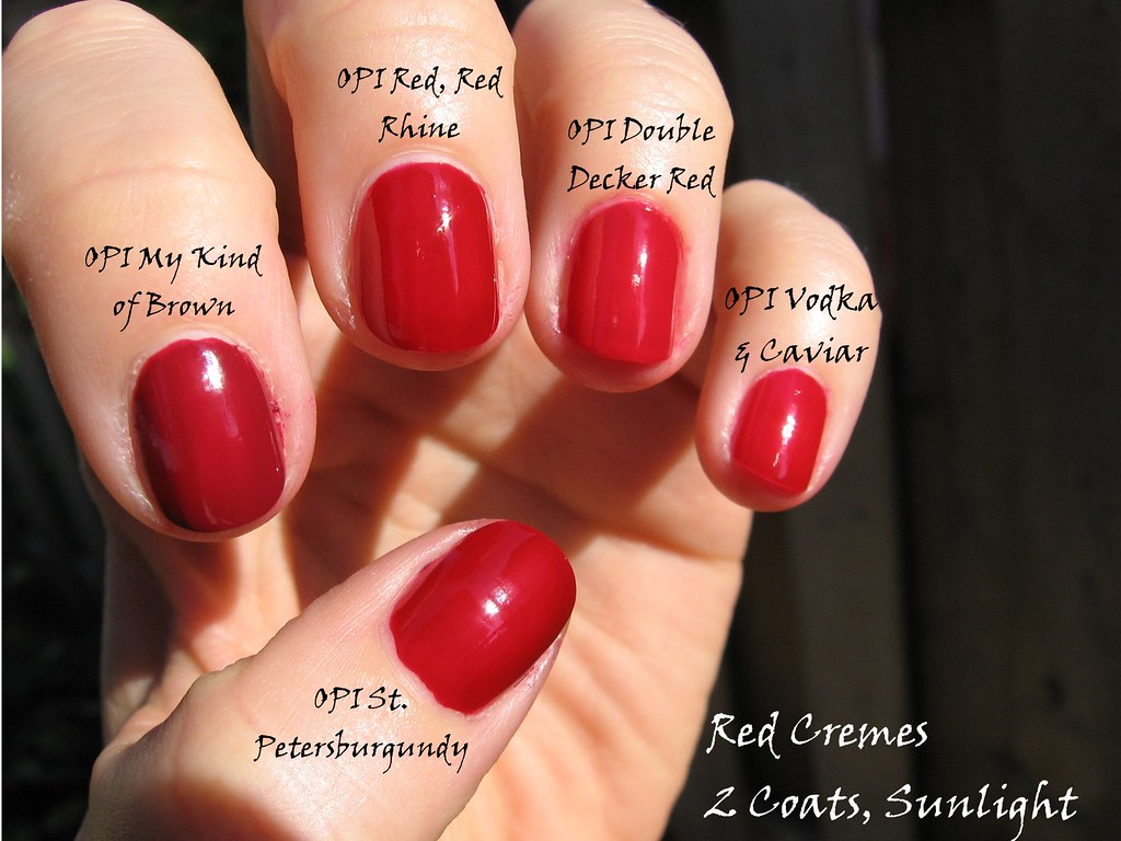 red cremes sunlight | 2 coats each, pinky to thumb: OPI Vodk… | Flickr