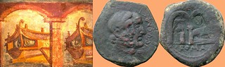 346/3 coin of Censorinus 88BC with statue, Two Arches and a Ship, beside a Pompeian painting of Two Arches and Two Ships in harbour | by Ahala