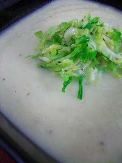 Creamy Cauliflower Soup with Shredded Brussel Sprouts | by britton618
