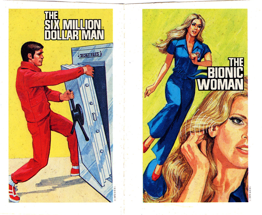 Six Million Dollar Man Bionic Woman Unknown Premium Sticker Pair Mid 1970s