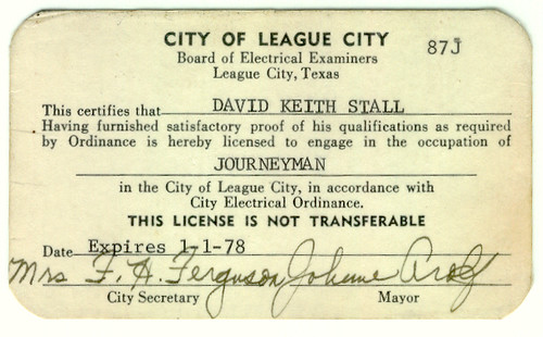 Journeyman Electrician's License, League City, TX | A City o… | Flickr