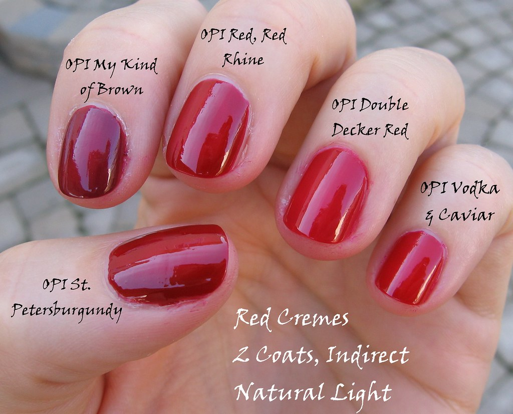 red cremes indirect natural light | 2 coats each, pinky to t… | Flickr