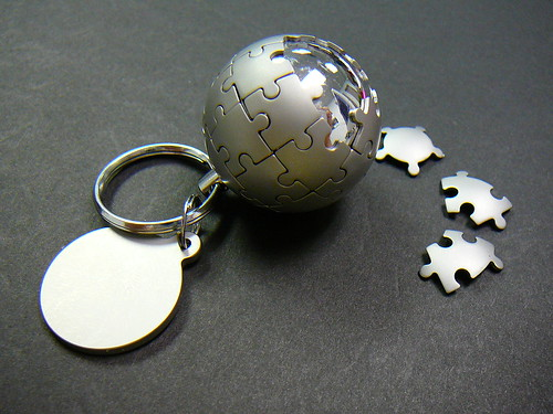 Wikipedia globe in a keychain! | by @bastique