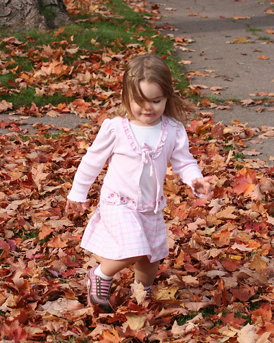 Liv playing in leaves | by fastbird232