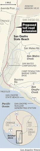 San Onofre Proposed Toll Road L.A. Times Map
