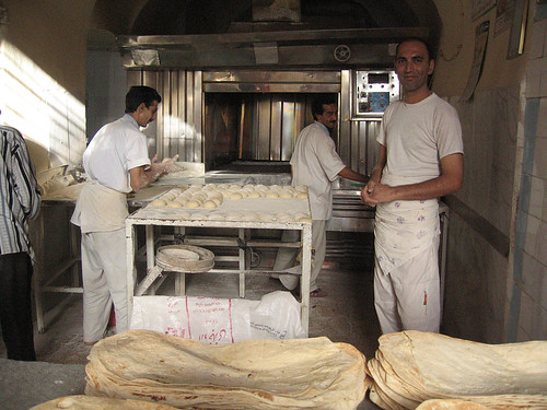 Bakery in the back street behind the mausoleum of Shah-e Cheragh, Shiraz