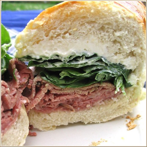 Salami, Pastrami, Spinach, and Cream Cheese Sandwich | by Nook & Pantry