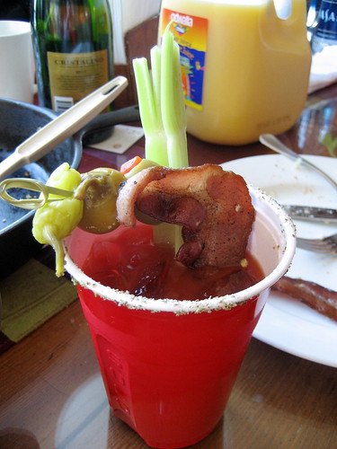 Wasabi bloody mary with bacon garnish. | by maggi.m