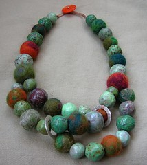 Papier mache and felt bead necklace | by hel_w