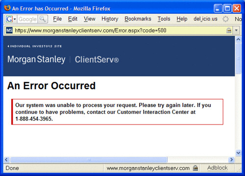 Morgan Stanley Clientserv 174 Unable To Process Your Reques