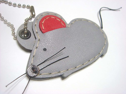 Wilson the Mouse leather charm ( Grey ) | by leatherprince