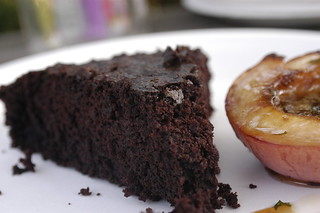 chocolate cake and roasted peaches | by shauna | glutenfreegirl