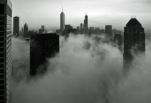Chicago- Foggy Loop Skyline in B&W | by doug.siefken