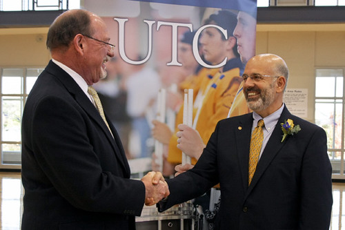Chancellor Roger Brown greets President Joe DiPietro | by UT-Chattanooga